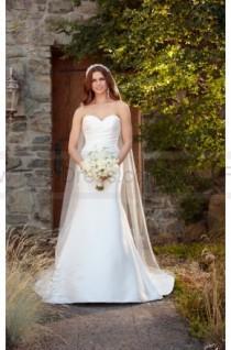 wedding photo - Essense of Australia Simple Silk Wedding Dress With Detachable Train Style D2242