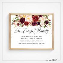 wedding photo - In Loving Memory Wedding Sign, Memorial Sign, Wedding Printable Signage, Those we love, Floral Boho Instant Download 8x10 5x7- Vera Kylie