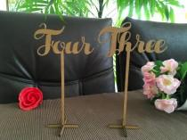 wedding photo - Wooden wedding table numbers on sticks, Script table numbers, Freestanding table numbers with base, Flower arrangement table numbers