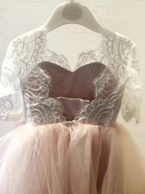 wedding photo - flower girl dress, Espana flower girl dresses,  blush flower girl dress, child dress, baby dress, light pink dress, wedding dress