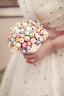 wedding photo - Bright and bold retro love heart candy bouquet in pastel colours