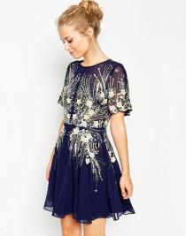 wedding photo - Gold And Navy Sparkle Dress