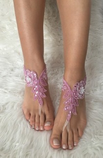 wedding photo -  Cinnamon Satin lace barefoot sandals, FREE SHIP, beach wedding barefoot sandals, belly dance, lace shoes, bridesmaid gift, lilac, pink