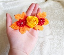 wedding photo - Barrette autumn leafs wedding hair clip woodland wedding orange yellow red hand made satin ribbon flower faux stones