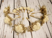 wedding photo - Rustic wedding SET of 6 BOUQUETS and 6 BOUTONNIERES Ivory brown sola Flowers, dried limonium, Burlap Bridesmaid, vintage brown small toss