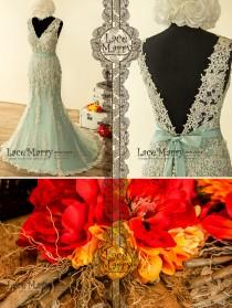 wedding photo - Fabulous Teal Wedding Dress with Intensive Beaded Venice Lace Appliqué featuring V Neckline, Deep V Cut Back