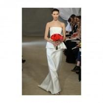 wedding photo - Carolina Herrera - Spring 2013 - Strapless Satin Sheath Wedding Dress with Peplum - Stunning Cheap Wedding Dresses