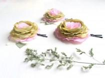 wedding photo - Shabby chic Flowers ,Pink light green roses bobby pins,Bridal hair clips, hair accessory,Wedding,Small pistachio roses, Flower Girl ,One Set