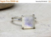 wedding photo - 2017 SALE 25% OFF -  rainbow moonstone ring,sterling silver ring,gemstone ring,prong setting ring,stack cocktail ring,square stone ring