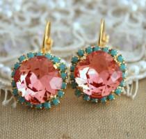 wedding photo - Peach Earrings,Coral Mint Earrings,Swarovski Salmon Pink Earrings,Bridesmaids Earrings,Turquoise Peach Earrings,Gift For Her,Drop Earrings