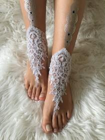 wedding photo -  White lace barefoot sandals, FREE SHIP, beach wedding barefoot sandals, belly dance, lace shoes, wedding shoe, bridesmaid gift, beach shoes