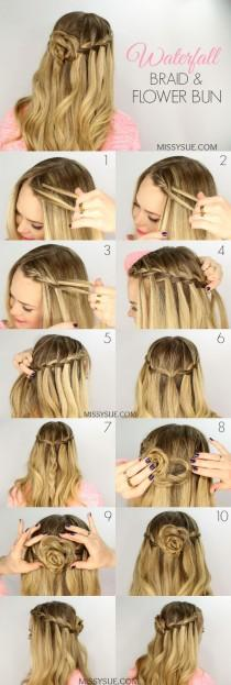 wedding photo - Waterfall Braid And Flower Bun