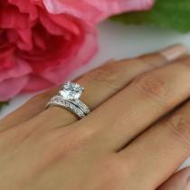 wedding photo - 60% off 2.25 ctw Round Solitaire Wedding Set, Channel Accented Bridal Rings, Man Made Diamond Simulants, Engagement Ring, Sterling Silver