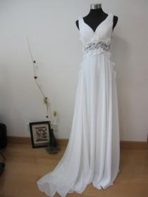 wedding photo - Sexy Lace Back Grecian White Chiffon Wedding Dress