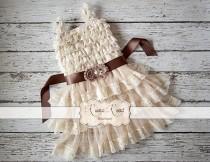 wedding photo - Rustic Flower Girl Dress, Country Flower Girl Dresses, Baby Girl Vintage Dress, Ivory Flowergirl Dress, Lace Ruffle Dress -CHOOSE SASH COLOR