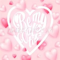 wedding photo - Lettering Be my Valentine on pink background with red candy hearts. Valentine greeting card - Unique vector illustrations, christmas cards, wedding invitations, images and photos by Ivan Negin