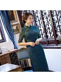 wedding photo - 2017 Autumn Season Half Sleeve Long Cheongsam/Qipao Slim Modified Fashion Lace Stand Collar High Slit Long Cheongsam/Qipao - Cntraditionalchineseclothing.com