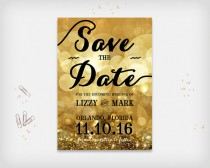 "wedding photo - Printable Save the Date Card, Wedding Date Announcement Card, Sparkle Bokeh Gold Colored, 5x7"" - Digital File, DIY Print"