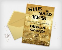 "wedding photo - Printable Engagement Party Invitation Card, She Said Yes! - Sparkle Bokeh Gold Colored, 5x7"" - Digital File, DIY Print"
