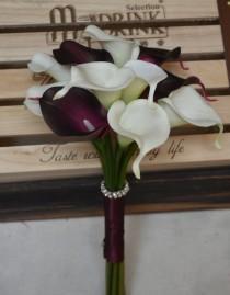 wedding photo - Rustic Bridesmaids Bouquet Ivory Dark Plum Purple Calla Lilies Bouquets Real Touch Flowers Silk Flower Wedding Bouquets