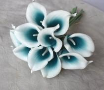 wedding photo - 10 Picasso Teal Blue Calla Lilies Real Touch Flowers For Silk Wedding Bouquets, Centerpieces, Wedding Decorations