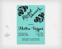 "wedding photo - Bridal Shower Invitation Card, Turquoise with Black Rose Design, 5x7"" - Digital File, DIY Print"