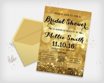"wedding photo - Bridal Shower Invitation Card, Sparkle Bokeh Gold Colored, 5x7"" - Digital File, DIY Print"