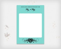 """wedding photo - Bridal Shower Advice & Well Wishes Card, Turquoise with Black Rose Design, 7x5"""" - Digital File, DIY Print - Instant Download"""