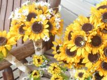 wedding photo - Sunflower Bridal Bouquet and Grooms Boutonniere or Bridesmaids and Groomsmen / Silk Wedding Flowers / 12 Pc. Sunflower Wedding Set