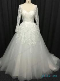 wedding photo - Sexy open back long sleeved lace ball gown wedding dress