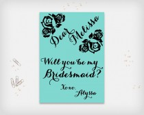 """wedding photo - Will you be my bridesmaid? Printable Proposal Card, Turquoise with Black Rose Design, 5x7"""" - Digital File, DIY Print"""