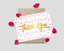"""wedding photo - Printable Thank You Cards, Gold Polkadots on Striped Background, 7x5"""" - Digital File, DIY Print - Instant Download"""
