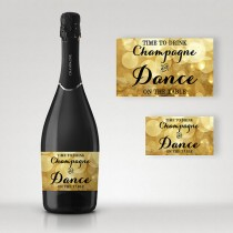 wedding photo - Time to Drink Champagne, Sparkle Gold, Full and Mini Champagne Labels - Digital File, DIY Print - Instant Download