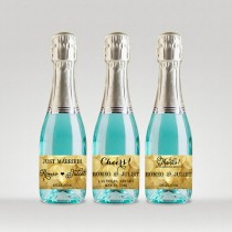 wedding photo - Party Favor Champagne Bottle Labels, Customized - Wedding, Engagement, etc - Sparkle Gold, Full or Mini Labels - DIY Print, Printable PDF