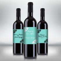 wedding photo - Turquoise Blue Wine Bottle Labels, Customized - Birthday, Wedding, Anniversary, Engagement Party etc. - Printable PDF