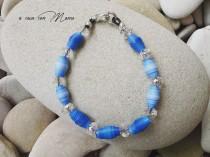 wedding photo - Bracciale luminoso con perle di carta azzurre - Bright blue bracelet with pearl paper- Perle di carta - Fatto a mano - Made in Italy