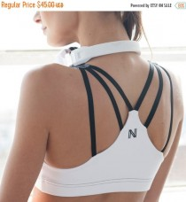 wedding photo - YEAR END SALE Sports Bra, White Yoga Bra, Mesh Yoga Top, Strappy Sports Bra, Hot Yoga Clothing, Workout Tops, Mesh Bra Top, Fitness Clothing