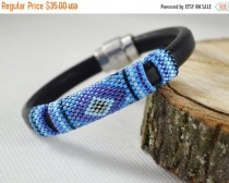wedding photo - Sale 20% Blue Men's braided bracelet strap bracelet for men blue bracelet men leather bracelet gift for him male model seed beads bracelets