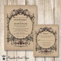 wedding photo - Goth Wedding Invitation, Halloween Wedding Invitations, Printable Vintage Wedding Invite, Vintage Blush Roses Wedding Invitation