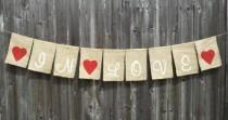 wedding photo - Wedding 'In Love' Burlap Banner Decoration - hanging burlap signage