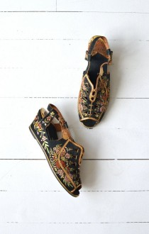 wedding photo - Madame Butterfly Wedges • Vintage 1930s Silk Shoes • 30s Chinese Embroidered Shoes 6