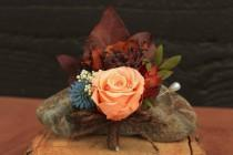 wedding photo - Fall Preserved Rose Wedding Boutonniere, Peach, Plum, Chocolate & Blue Bridal Boutonniere, Autumn Boutonniere, Fall Rose Grooms Boutonniere