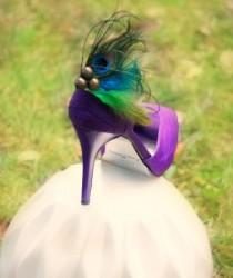 wedding photo - Wedding Shoe Clips. Peacock & Rooster Feathers. Girls Night Party Gift, Metallics Bronze Teal, Boudoir Burlesque, Couture Bridesmaid Bride