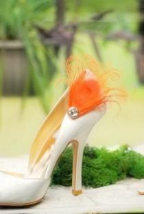 wedding photo - Shoe Clips Orange Peacock & Sparkly Rhinestone / Pearl. Statement Haute Couture. Green Purple Turquoise Blue. Bride Bridal Wedding Accessory