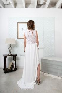 wedding photo - Leewana Wedding Dress / Lace Bohemian Wedding Dress with  cut out neckline// illusion Back and Modern Boho Chiffon Skirt with Slit option