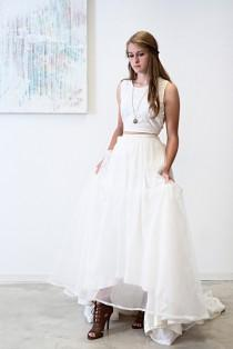 wedding photo - Em Wedding Dress  // Boho Tea Dyed Sleeveless /Tie Back/ Lace /Crop Top With High Waisted/ Sequin and Organza Skirt/ High Low Illusion  Hem