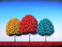 wedding photo - ORIGINAL Art Colorful Landscape Painting, Contemporary Art Oil Painting, Whimsical Art, Paintings of Trees, Large Art Tree Painting, 18x24