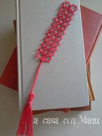 wedding photo - Un distinto segnalibro - Bookmark tatting - Tatting - Bookmark - Regalo - Rosso - Corallo - gift - Handmade - Made in Italy