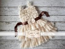 wedding photo - Rustic Flower Girl Dress - Country Flower Girl Dress, Baby Girl Vintage Dresses, Ivory Flowergirl Dress, Lace Ruffle Dress CHOOSE SASH COLOR