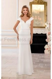wedding photo - Stella York Simple Cap Sleeve Wedding Dress With Open V-Back Style 6409